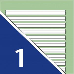 Lineatur 1 (4-Linien-System, Linienabstand 5mm, grüner Hintergrund)