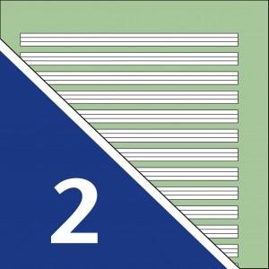 Lineatur 2 (4-Linien-System, Linienabstand je 4mm), grüner Hintergrund)