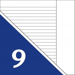 Lineatur 9 (A5, einfach liniert mit Rand)